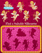 Valentines day child find suitable silhouette game with cupids cartoon characters. Kids playing activity with shadow matching task, children puzzle. Cupids or cherubs with bow, lyre and horn vector