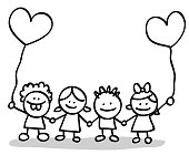 doodle style little cude children with heart shape balloon illustrations.