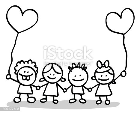 Valentines Day Kids Lovers Holding Hands Cartoon Stock ...