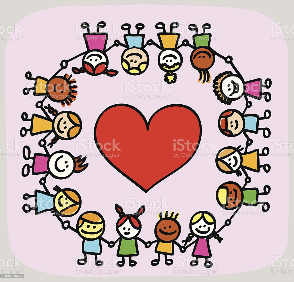 valentines day kids lovers holding hands cartoon stock vector art