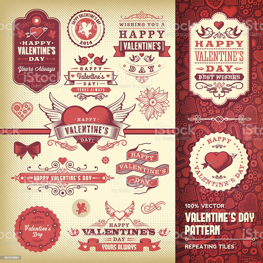 La Saint-Valentin ensemble de Label - Illustration vectorielle