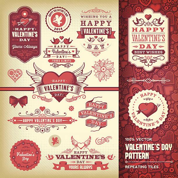 ilustraciones, imágenes clip art, dibujos animados e iconos de stock de día de san valentín conjunto de etiquetas - día de san valentín