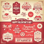 A set of Valentine's Day themed labels, badges and illustrations. EPS 10 file,