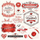 A complete set of ornaments, labels and illustrations for Valentine's Day. EPS 10 file, with transparencies, layered & grouped.