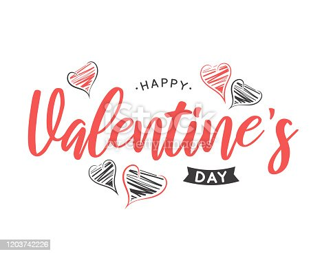 istock Valentines Day lettering card with hand drawn hearts. Vector 1203742226