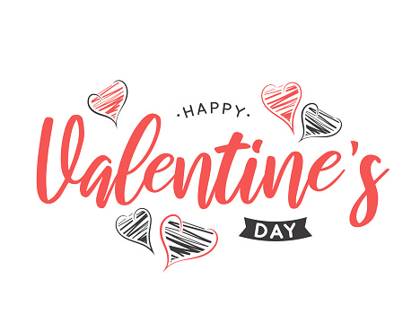 Valentines Day lettering card with hand drawn hearts. Vector