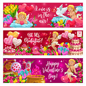 Love in air, be my Valentine motto on Valentines day holidays. Vector cupids and doves, heart shaped air balloons, candies. Elixir of love, tulips and rose flowers, cake and calendar February 14 date