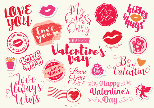Valentine's Day lettering labels and icons