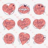 Valentine's Day letterings set
