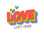 Valentine's day LGBT vector typography banner stock illustration
