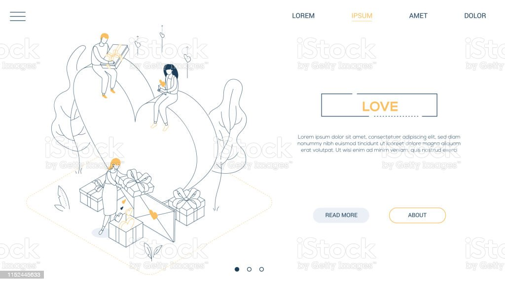Valentines Day Line Design Style Isometric Web Banner Stock