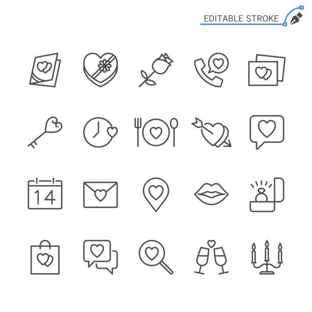 valentinstag-linie symbole. editierbare schlaganfall. pixel perfekt. - essen mund benutzen stock-grafiken, -clipart, -cartoons und -symbole