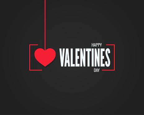 valentines day logo on black background