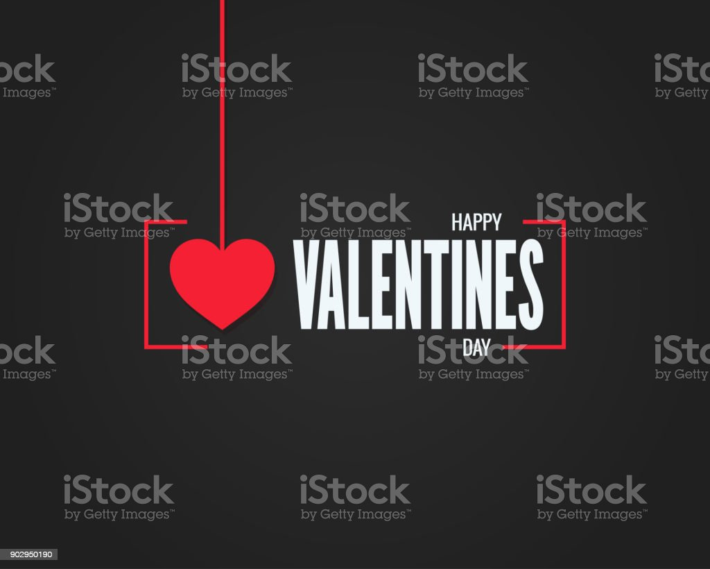黒背景にロゴをバレンタインの日 ベクターアートイラスト