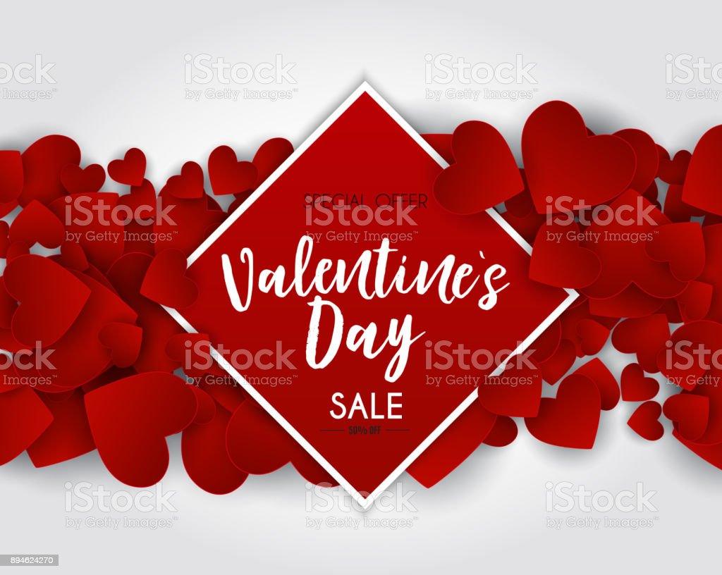 Valentine's Day Love and Feelings Sale Background Design. Vector illustration