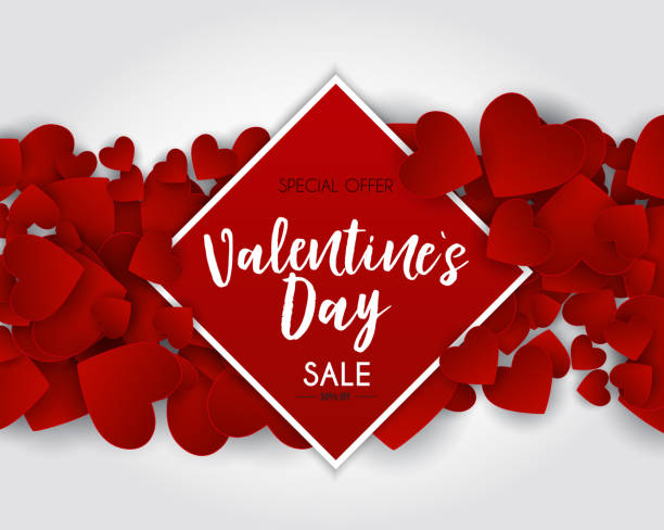 valentine's day love and feelings sale background design. vector illustration - valentine card stock illustrations