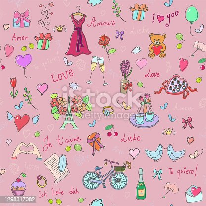 istock Valentine`s Day. Love background vector seamless pattern 1298317082