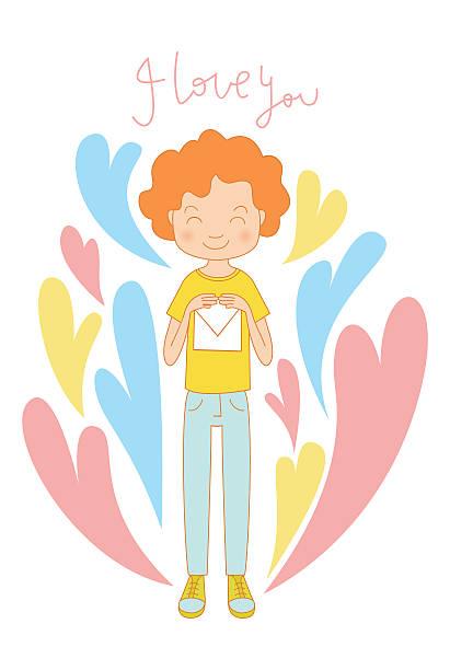 valentine's day love-karte hintergrund, junge mit einem buchstaben - pastellhosen stock-grafiken, -clipart, -cartoons und -symbole