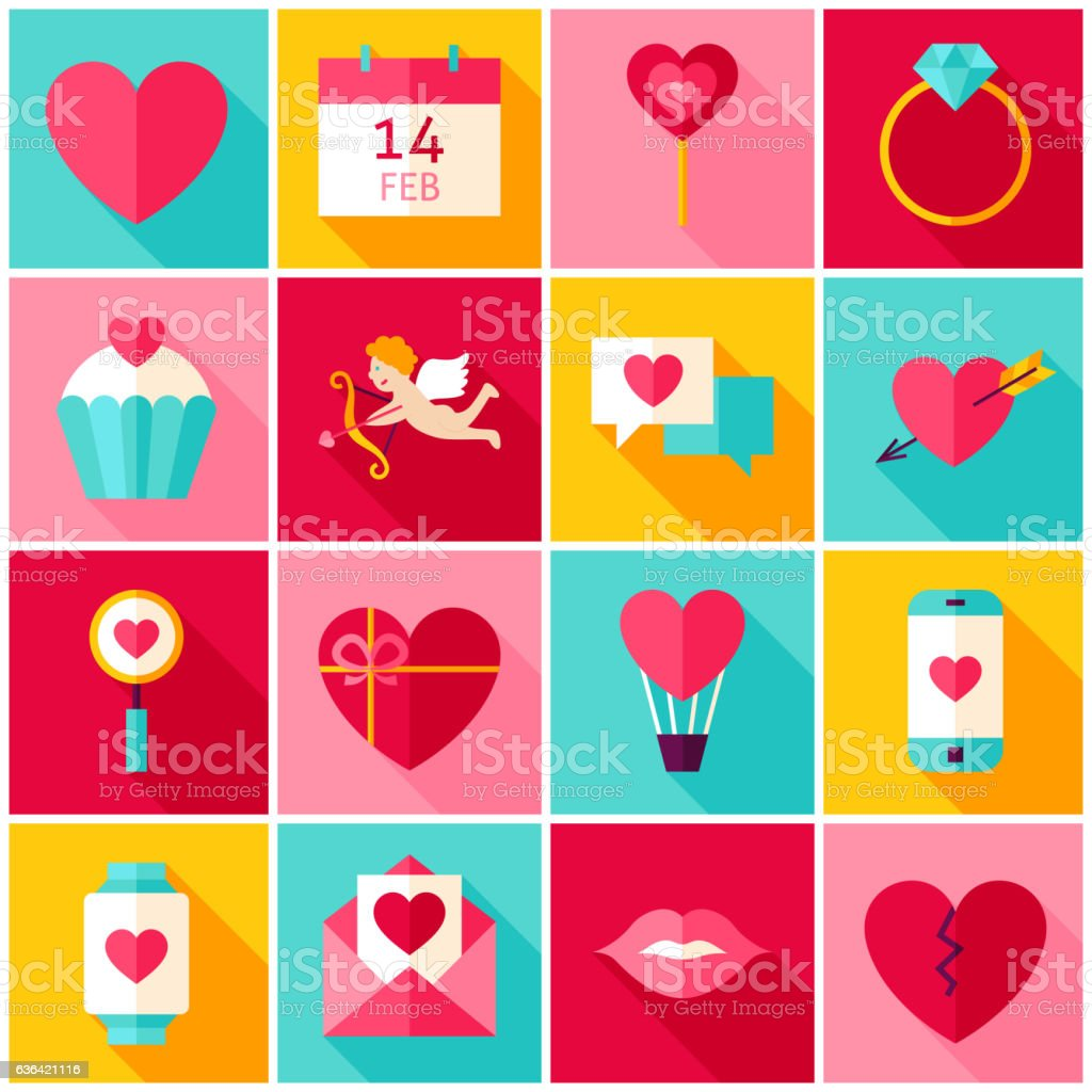 Valentines Day Love Colorful Icons vector art illustration