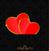 Valentines day love  heart background, vector illustration  EPS10. Contains transparent objects used for shadows drawing, glare and background. Background to give the gloss.