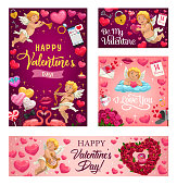Happy Valentines day vector greeting card. Pink hearts and cupid with arrows, rose flowers wreath, angel with golden harp and pink flamingo with love lock and key