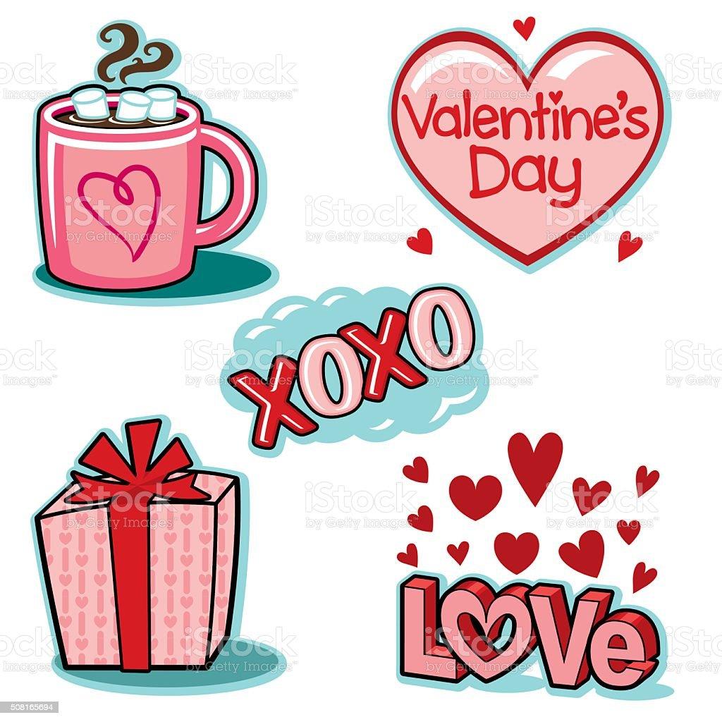 Valentines day love icons illustration set vector art illustration