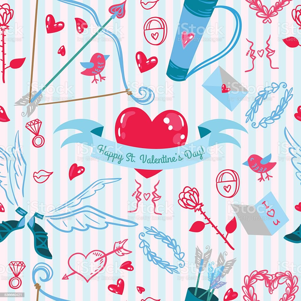 Valentines Day love pattern vector art illustration