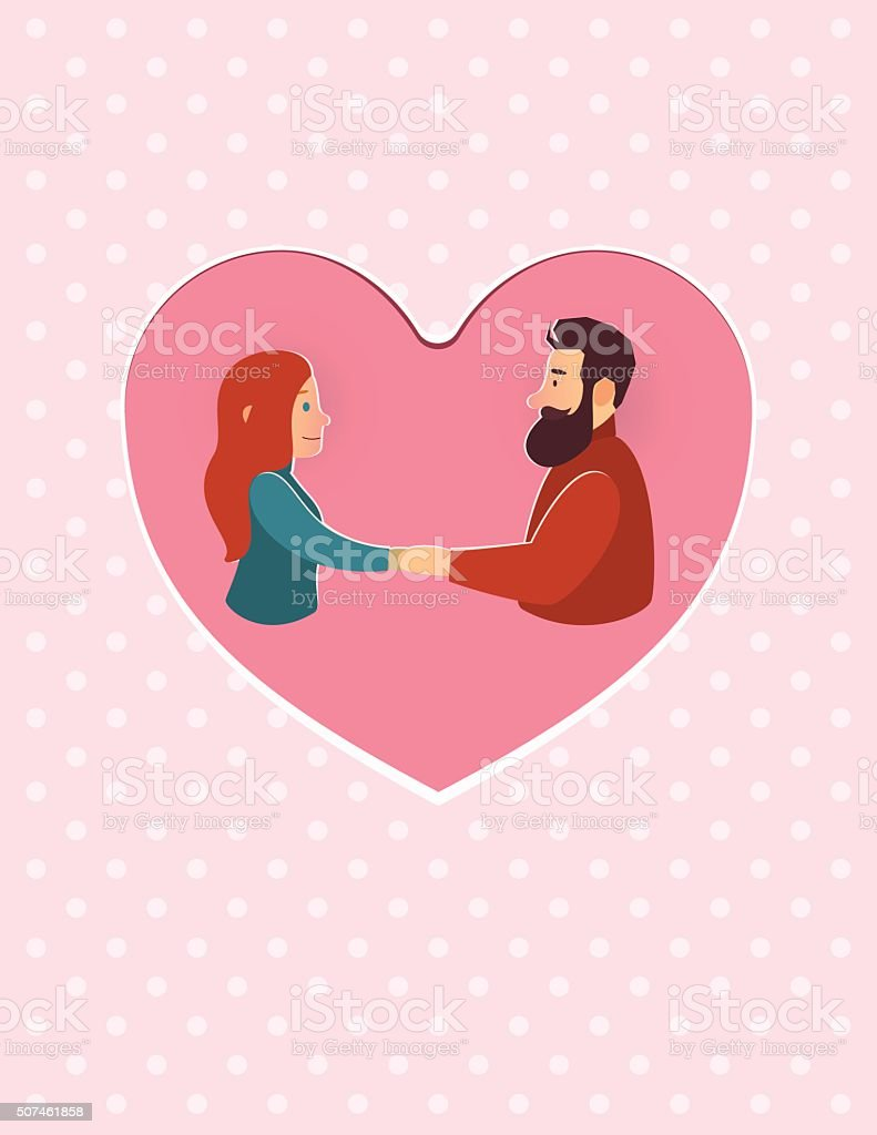 Valentinstag. Schöne Mann Und Frau Neu Definiert. Grußkarte Lizenzfreies  Vektor Illustration