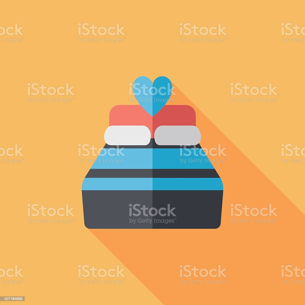 Valentine's Day lover bed flat icon with long shadow,eps10 vector art illustration