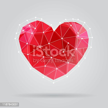 Low poly triangle valentine's heart. Online dating service network logo. EPS10 vector illustration, global colors, easy to modify.