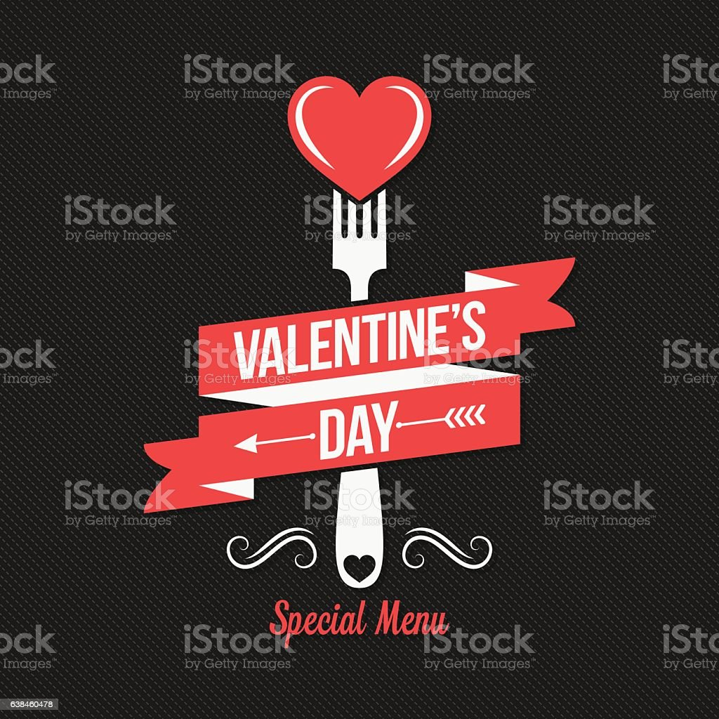 Valentines day menu design background. vector art illustration