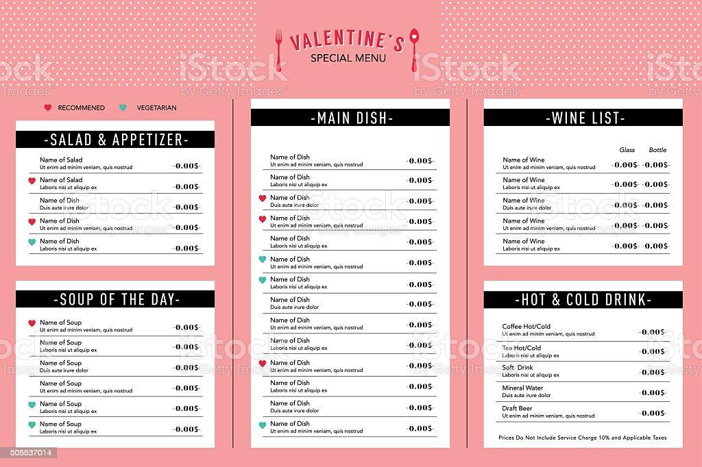 Valentinstagmenüdesignvorlagelayout Restaurant Cafe Stock Vektor Art ...