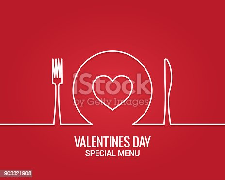 istock Valentines day menu. Fork and knife with plate line. 903321908