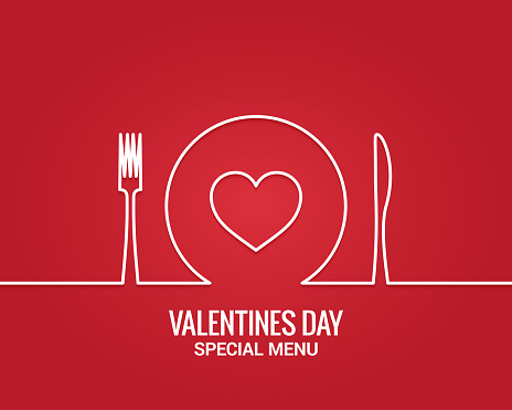 Valentines day menu. Fork and knife with plate line.