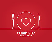 Valentines day menu. Fork and knife with plate line. Restaurant menu on red background 10 eps