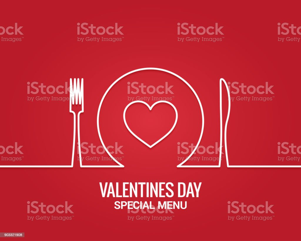 Valentines day menu. Fork and knife with plate line. vector art illustration