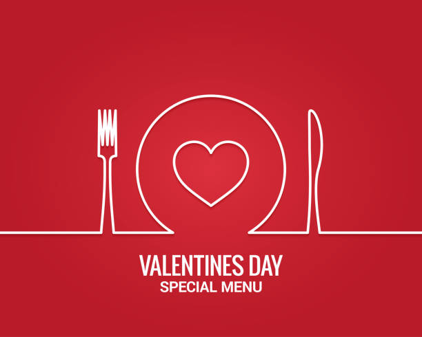 illustrazioni stock, clip art, cartoni animati e icone di tendenza di valentines day menu. fork and knife with plate line. - cena
