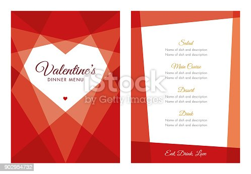 istock Valentine's Day Menu with Geometric Heart 902954732