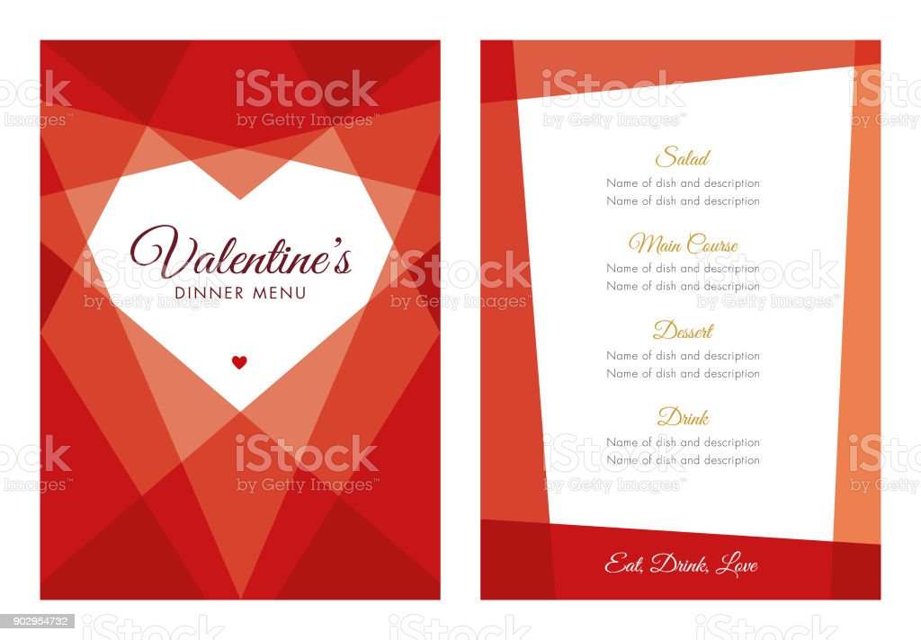 Valentine's Day Menu with Geometric Heart vector art illustration