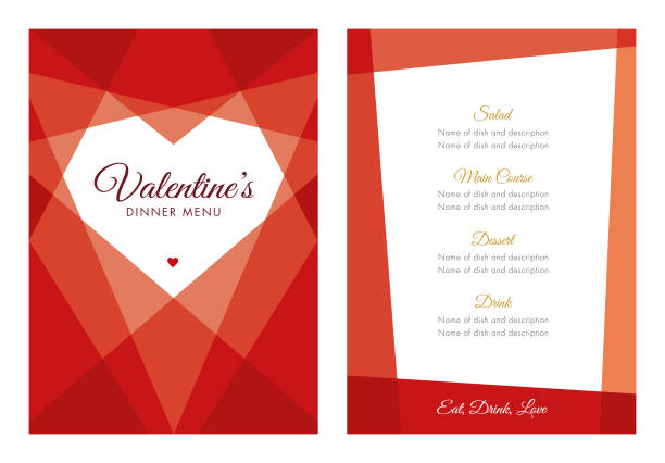 valentinstag-menü mit geometrischen herz - menu card stock-grafiken, -clipart, -cartoons und -symbole
