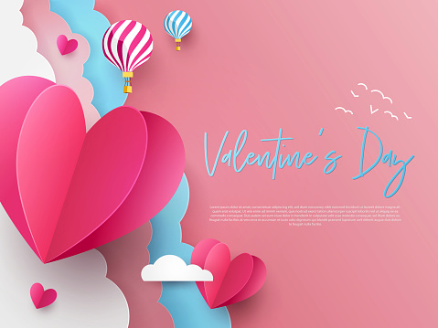 Valentine's Day modern minimalistic design template for Website, greeting or promo banner, flyer, poster