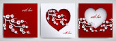 Valentine's day, mother's day design set. Greeting card, poster, banner collection. Heart with cherry flowers branch on red, white background, paper cut art style. Vector illustration, layers isolated