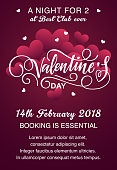Valentine's day night vector poster design template. Valentine's Day lettering.