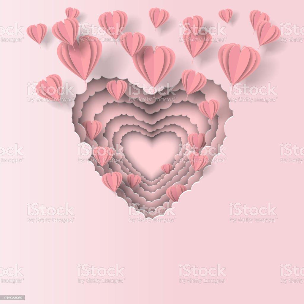 Ilustración de Día De San Valentín Corazones De Papel Volando De ...