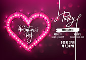 Valentine's Day party flyer template retro neon heart with led lights, vector illustration