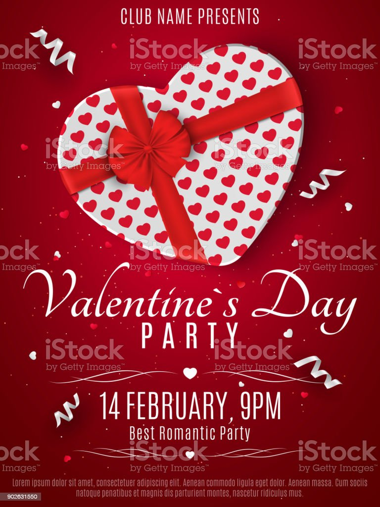 Valentines Day Party Flyer White Box From The Heart And A Red Ribbon
