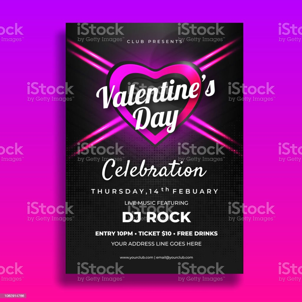 Valentines Day Party Invitation Card Or Template Design With Date