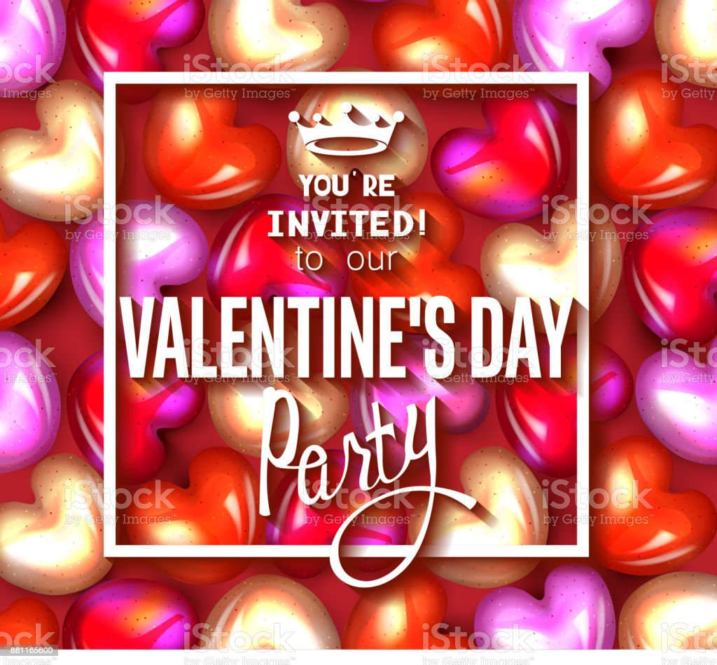 Valentines Day Party Invitation Card With Colorful Caramel Hearts On The Background Stock Illustration Download Image Now