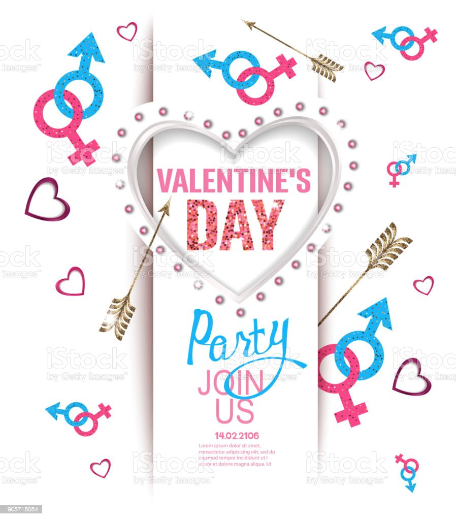 Valentines Day Party Invitation Card With Heart Shaped Light Frame