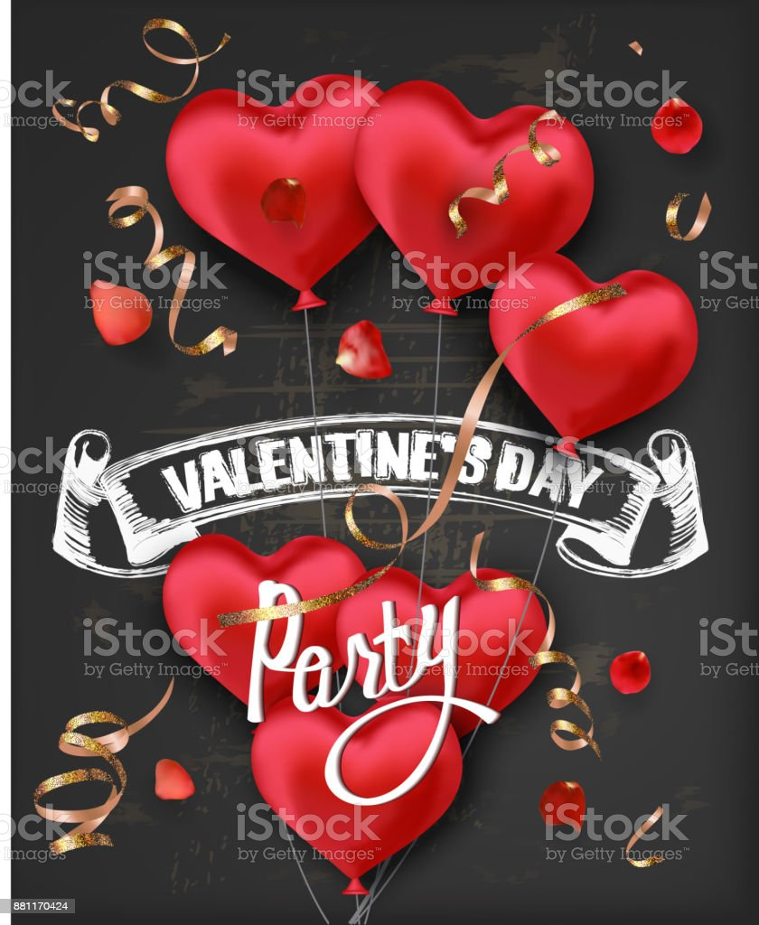 Valentines Day Party Invitation Card With Red Heart Shaped Air ...